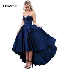 07698ecd649b Hög Låg Bridesmaid Dress Kort Fram Lång Rygg Navy Blue Wedding Party Klänningar  Formella Kjolar. High Low Prom DressesShort ...