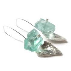 Silver leaf earrings with seaglass.   ArteSana Jewellery