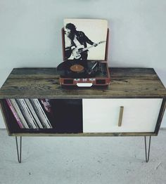 reclaimed wood record cabinet.