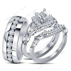1.20Ct Round Cut 14k White Gold Filled 925 Silver Trio Wedding Ring & Band Set #aonedesigns