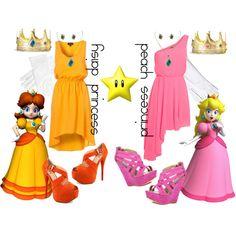 """princess daisy + princess peach"" by simmaaay ❤ Princess Daisy Costume, Princess Peach Party, Twin Costumes, Family Costumes, Cosplay Costumes, Halloween Diy, Halloween Costumes, Halloween Clothes, Halloween 2017"