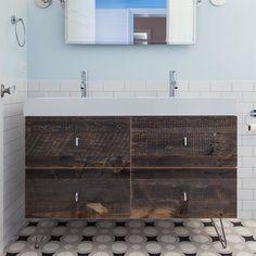 Cool and calm! #bathroomremodel . . . . . #bathroom #remodel #renovation #bathroomvanity #woodvanity #tile #residentialremodel #designbuild #design #chicagodesigner #chicagobuilder