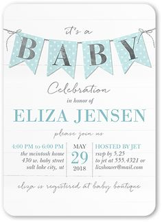 Cute Pennant Boy 5x7 Stationery Card by Petite Lemon. Shower her with love and a stylish baby shower invitation. Personalize it with the party details.