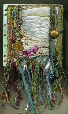 Fabric and vintage ribbon and buttons. - Be fabulous with your Spell Book; BOS; or, Grimoire!
