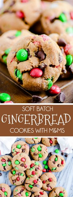 Soft and chewy gingerbread cookies with lots of M&Ms! Soft and chewy gingerbread cookies with lots of M&Ms! Christmas Snacks, Christmas Cooking, Christmas 2016, Christmas Holidays, Christmas Ideas, Holiday Baking, Christmas Desserts, Christmas Chocolate, Christmas Cupcakes