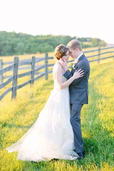 Bride and Groom, Portrait, Wedding Photography, Farm Wedding. Destiny Hill Farm Sunset, Photo: Lauren Renee Designs