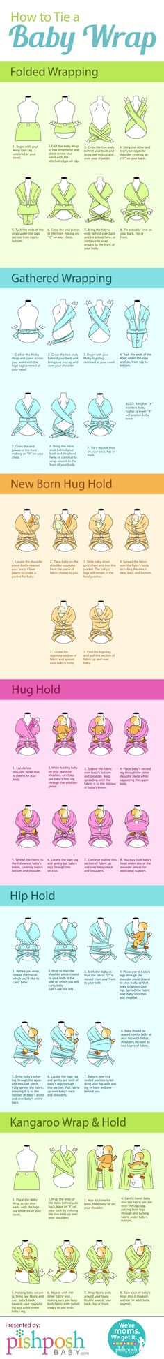 How to Tie a Baby Wrap [by PishPosh Baby -- via Tipsographic] #tipsographic