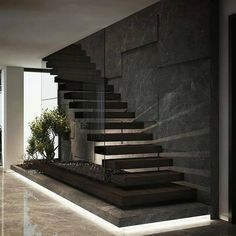 By Demirhan Gurman Via: by architecture_hunter Home Stairs Design, Interior Stairs, Home Room Design, Dream Home Design, Modern House Design, Home Interior Design, Luxury Interior, Modern Stairs Design, Interior Office