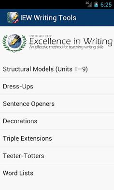 Check out our new IEW Writing Tools App (Android)!