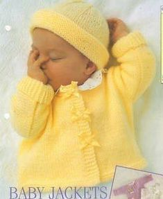 Diy Crafts - Vintage Knitting Pattern Knit Baby Girl Ribbon Cardigan Jacket Pullover Sweater Bolero Hat Set PDF I Baby Cardigan Knitting Pattern Free, Pattern Baby, Baby Sweater Patterns, Baby Clothes Patterns, Easy Knitting, Baby Patterns, Layette Pattern, Double Knitting, Baby Knitting Patterns Free Newborn