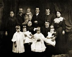 Large family group photographs were very popular during the 1890s and early 1900s, their arrangement often helping with identification of different branches and several generations of ancestors