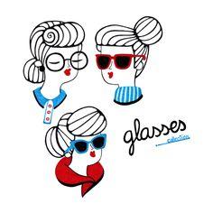 Women & Glasses by Alejandra Morenilla, via Behance