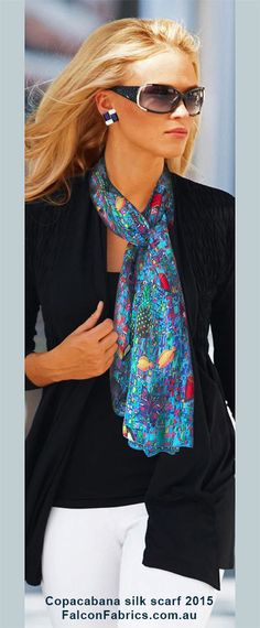 Exclusive silk scarf — Copacabana- 8mm chiffon – silk, printed in a seamless pattern. Scarf size 210cm by 64cm.
