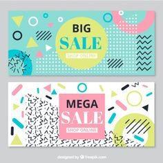Big sales banners in memphis style Free Vector