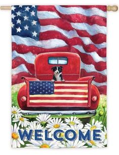Patriotic pickup truck themed house flag. A bright red antique truck with a friendly little black and white pup riding in the bed is the subject of this rustic Americana scene. American flags, green g