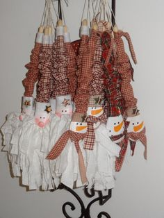 Wooden Spoon Rag Santa Rag Snowman Holiday,