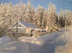 Original Landscape Painting by Sergei Osaulenko Snowy Pictures, Original Paintings, Original Art, Realism Art, Modern Spaces, Buy Art, Canvas Art, Places, Nature
