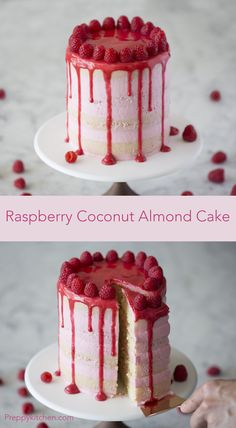 Raspberry cake with coconut and almonds Raspberry desserts, raspberry recipes, coconut desserts, coconut recipes, almond desserts Source by savorysimple Kokos Desserts, Raspberry Desserts, Coconut Desserts, Raspberry Cake, Köstliche Desserts, Coconut Recipes, Raspberry Buttercream, Raspberry Popsicles, Raspberry Cobbler
