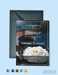 Instantly Download Free Wedding Dinner Party Invitation Template, Sample & Example in Microsoft Word (DOC), Adobe Photoshop (PSD), Adobe InDesign (INDD & IDML), Apple Pages, Microsoft Publisher Format. Available in 5x7 inches + Bleed. Quickly Customize. Easily Editable & Printable.