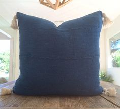Authentic Indigo African Mudcloth Textile Pillow Cover With Natural Cotton Tassels Various Sizes