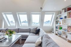You'll be surprised after seeing apartment design in Stockholm with stunning white decor, attic renovation into apartments in very functional for place to live Room Design, House, Apartment Design, Home, Penthouse For Sale, Attic Living Rooms, Interior Design, Attic Apartment, Living Design