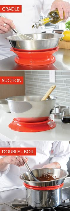 The Staybowlizer is a silicone device that keeps your bowl from moving (use to cradle a mixing bowl, for suction and also a double boiler!)