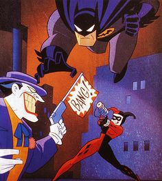 Batman vs The Joker and Harley Quinn by Bruce Timm