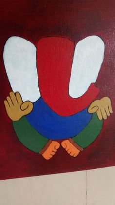 An unfinished painting of Lord Ganesha.