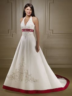2016 Free Shipping Halter V Neck A Line Cheap White and Red wedding dress Embroidery and Beading Lace Up vestido de noiva GD632-in Wedding Dresses from Weddings & Events on Aliexpress.com | Alibaba Group