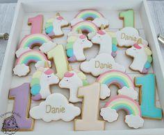 Rainbow unicorn cloud and numbers cookies assortiment Royal Icing Cookies, Rainbow Unicorn, Cloud, Numbers, Birthday, Instagram Posts, Desserts, Deserts, Dessert