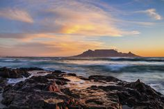 Table Mountain at sunset, Bloubergstrand, South africa