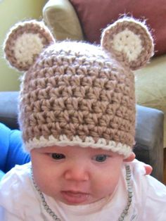 Looking for crocheting project inspiration? Check out Baby Bear Hat by member lpinchin. - via @Craftsy