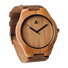 Tree Hut Brown Leather Bamboo Watch   This wooden Tree Hut watch has genuine brown leather bands and is handmade in San Francisco from real bamboo wood with available engraving.