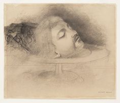 Odilon Redon. The Head of Saint John the Baptist (after Andrea Solario). (c. 1868)