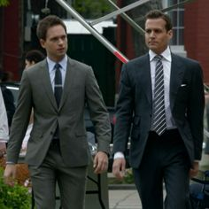 GM, as Harvey Specter, and PJA, (Patrick J. Adams, as Mike Ross) in Suits S2.03 Meet the New Boss