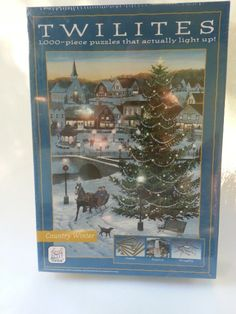 Twilites 1000 Piece Puzzles That Actually Light Up! Country Winter -  this would be so much fun to start on Thanksgiving day & get it finished before Christmas!