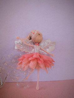 Coral flower fairy doll handmade fairy doll fairy doll