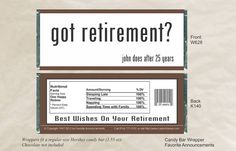 12 Got Retirement / Candy Bar Wrappers for a Hershey's Bar (W628) - Party Favors on Etsy, $10.20