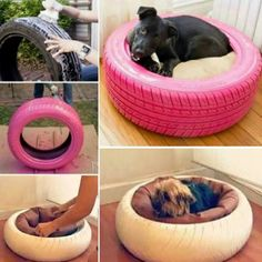 How to make tyre/tire pet bed tutorials #diy, #pets, #bed