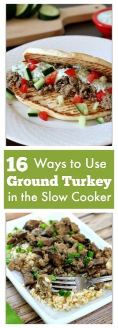 16 ways to use ground turkey in the slow cooker plus 5 bonus recipes! 16 ways to use ground turkey in the slow cooker plus 5 bonus recipes! Turkey Crockpot Recipes, Turkey Burger Recipes, Meat Recipes, Slow Cooker Recipes, Dinner Recipes, Cooking Recipes, Healthy Recipes, Slow Cooking, Chicken