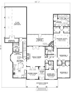 First Floor Plan of Colonial Southern House Plan 62195