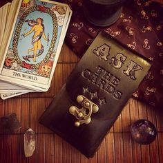 ASK The Cards...Leather Tarot Deck Cards Pouch by ContrivedtoCharm