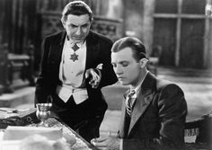 """Bela Lugosi as Count Dracula and Dwight Frye as Renfield (Jonathan Harker in the book) in """"Dracula,"""" Mode Masculine, Classic Hollywood, Old Hollywood, Universal Monsters, Hollywood Monsters, Monster Photos, Beautiful Dark Art, Famous Monsters, Classic Monsters"""
