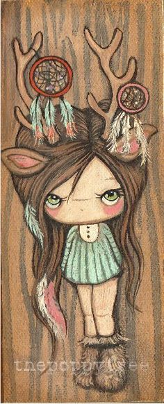 Dream Catcher chica Original lienzo de pintura en por thepoppytree