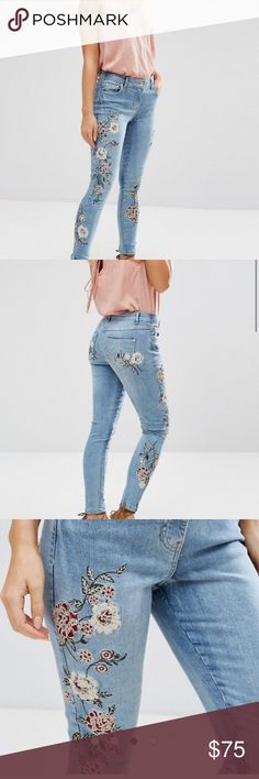 ASOS Parisian Petite Jeans With Floral Embroidery New. Size US 6. Gorgeous design! ASOS Jeans Skinny