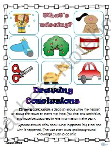 Drawing Conclusion Activities from Bilingual Caravi on TeachersNotebook.com -  (6 pages)  - Drawing Conclusions: This drawing conclusions unit has the guidelines of what a conclusion is in reading.