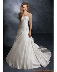 Brautkleider 2013 aus satin schulterfreier Halsausschnitt mit Rüschenmiedern und asymmetrischer Rock