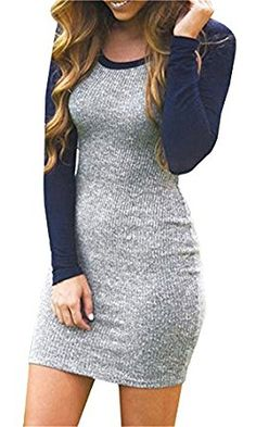 TagoWell Women Autumn Color Block Bodycon Dress Long Sleeve Package Hip T Shirt: Amazon.co.uk: Clothing
