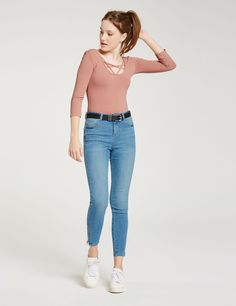 jean super skinny taille haute bleu clair - http://www.jennyfer.