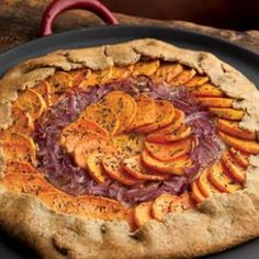 Fall Recipes: Sweet Potato, Red Onion & Fontina Tart -- Try this roasted-vegetable free-form tart as an appetizer or side dish for a special dinner or as a vegetarian main dish. Thanksgiving Main Dishes, Thanksgiving Recipes, Holiday Recipes, Christmas Recipes, Thanksgiving 2013, Fall Recipes, Thanksgiving Baking, Vegetarian Main Dishes, Vegetarian Recipes